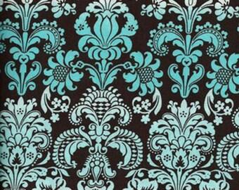 Calico Aqua Ombre Damask Fabric  -- 1 yard