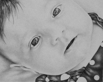 Custom original drawing portrait, ONE person, pencil sketch portrait, photos to drawing, pencil portrait, child portrait, family portrait