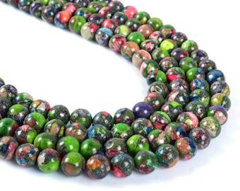"8MM010 8mm Multi-color sea sediment jasper pyrite round ball loose gemstone beads 16"""