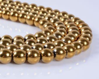 "8MM96 8mm Metallic golden coated hematite round ball loose gemstone beads 16"""