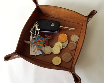 Gent Leather Coin Tray, Valet Tray, Change Tray, Clutter Tray or Travel Tray.