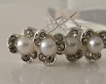4 flower girl hair pins / bridal hair jewelry