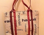 SALE Vintage Cream Brown HAWAII Linen Shabby Chic Natural Tote Bag