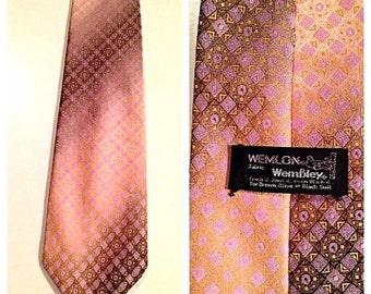 SALE Vintage Geometric Print Necktie by Wemlon by Wembley
