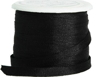 11 Yds (10 M) Embroidery Silk Ribbon 100% Silk 4mm - Black - By Threadart