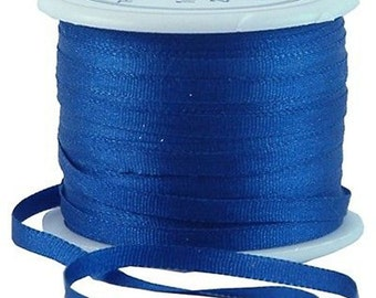 11 Yds (10 M) Embroidery Silk Ribbon 100% Silk 2mm - Navy - By Threadart