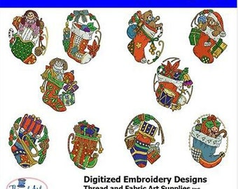 Embroidery Design CD - Stockings(1) - 10 Designs - 9 Formats - Threadart