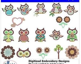 Embroidery Design CD - Owls(1) - 17 Designs - 9 Formats - Threadart