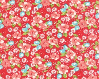 Calico - Moda Fabric - Little Ruby Florals by Bonnie & Camille Red 55130 11 - Quilts - Quilting - Dresses - Crafts