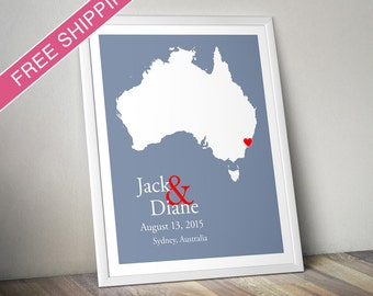 Custom Wedding Gift : Personalized Wedding Location and Country Map Print - Australia - Engagement Gift, Wedding Guest Book