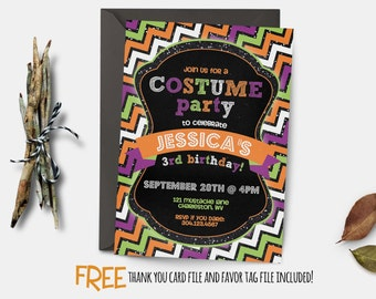 Halloween Birthday Invitation, first birthday costume party invitation, halloween birthday, party invitation printable, FREE thank you card