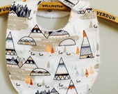Bib Indian look, mountains and tipis, unisex, easy maintenance, cotton and steel, high quality gift