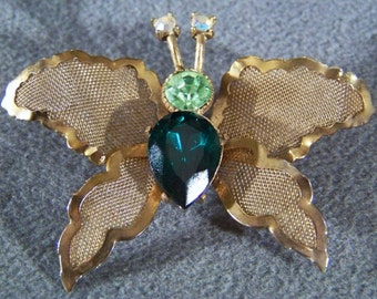 Vintage shades green aurora rhinestone mesh butterfly pin Art Deco Style Jewelry **RL