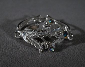 Vintage Silver Tone Aurora Borealis Locking Closure Floral Design Leaf Bracelet Bangle Jewelry    K#10