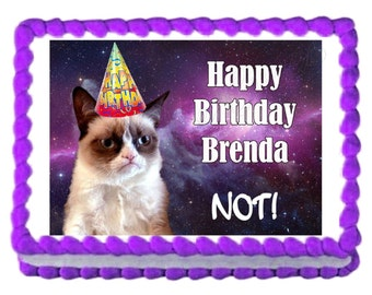 Grumpy Cat birthday or retirement party edible cake image cake topper frosting sheet