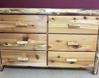 6 drawer cedar log dresser