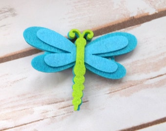 Blue dragonfly hair clip, summer blue felt dragonfly hair clip, dragonfly hair accessory, summer hair bow, UK seller