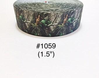 "3 or 5 yard - 1.5"" Green Camo Tree Grosgrain Ribbon Hair bow"