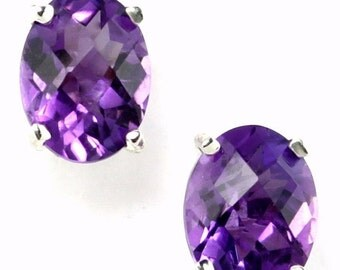 Summer Sale, 30% Off, SE002, 8x6mm Amethyst, 925 Sterling Silver Post Earrings