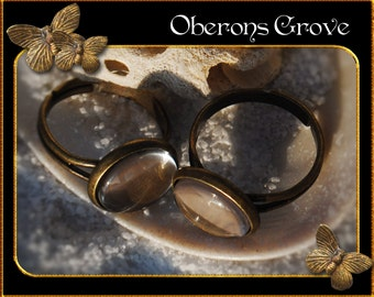 10 ring shanks bronze with 12mm Cabochons
