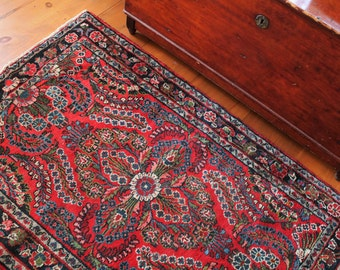 Antique Rug - Red - Blue - Tan - 5' x 3' 3'' - Area Rug - Knotted -