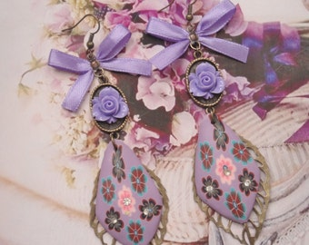 earrings  romantic millefiori