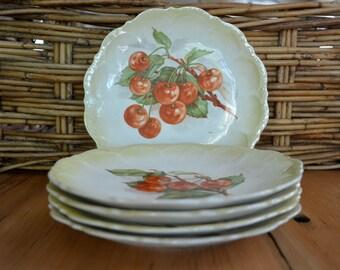 Limoges Cherry Plates, Vintage China Plates, Dessert Plates, Fruit Plates