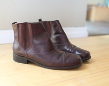 vintage brown leather oxfords ankle boots womens  10