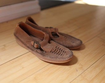 vintage minnitonka braided  brown suede leather moccasin maryjanes womens 7 1/2