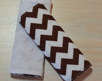 Car Seat Strap Covers - Chevron - Brown