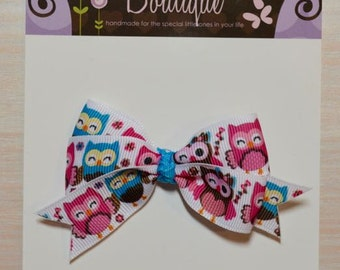 Boutique Style Hair Bow - Owls, Pink and Blue