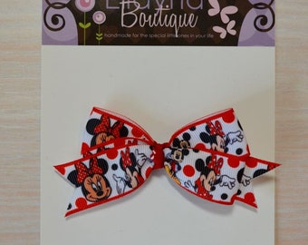 Boutique Style Hair Bow - Minnie and Mickey Mouse