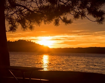 Beautiful golden sunset on Lake Winnipesaukee, Wolfeboro nh, Lake Winnipesaukee, Carry Beach, Sunset Photography, Sunset Art, Sunset Print