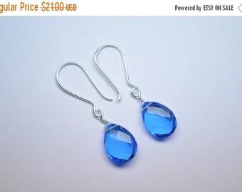 35%Dis Handmade 925 Silver Quartz Silver Earrings,Silver Earrings,Pear Earrings,Electric Blue Briolette Wire Wrapped Earrings