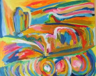 Original oil abstract landscape ( Modern art)