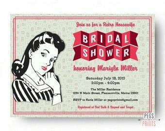 Retro Housewife Bridal Shower Invitation - Printable Retro Kitchen Shower Invitation - 50s Bridal Shower - Vintage Bridal Shower Invitations