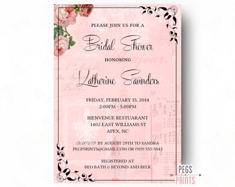 red paris themed bridal shower invitation printable paris, Bridal shower invitations