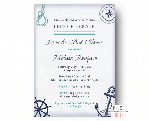 nautical themed bridal shower invitation wording 28 images