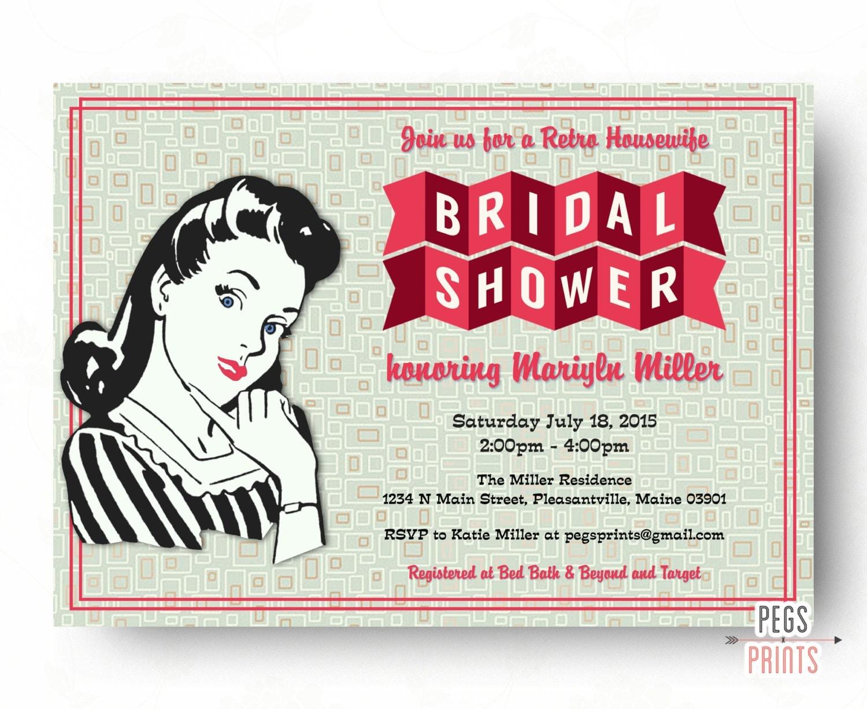 Wedding Shower Invitation: Retro Housewife Bridal Shower Invitation Printable By