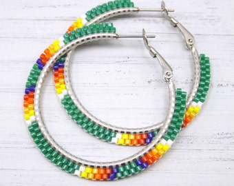 Green Kissed Blue Fire Beaded Hoop Earrings - Green Hoop Earrings - Green Beaded Earrings - Jewelry Gift for Her