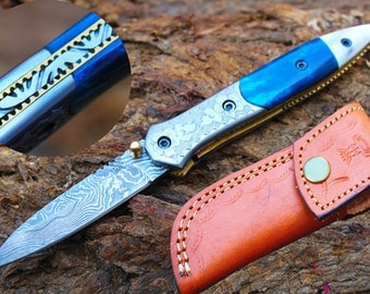 "2.8""Blade Custom Handmade Folding Knife w/Engraved Steel Bolsters, Pearl Kerinitie,File-Work,Buffalo Dyed Bone &  Sheath Cover UDK-F-A32"