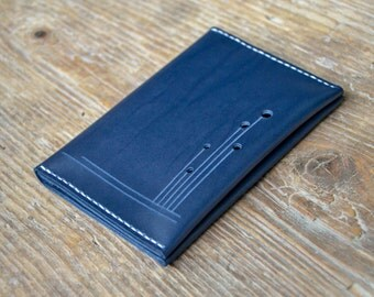 Leather passport cover, blue passport holder, wallet cash card holder, hand stitched, for men & women