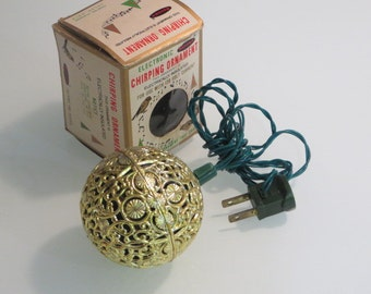 Vintage retro Renown gold plastic ball chirping bird sound electric Christmas tree ornament