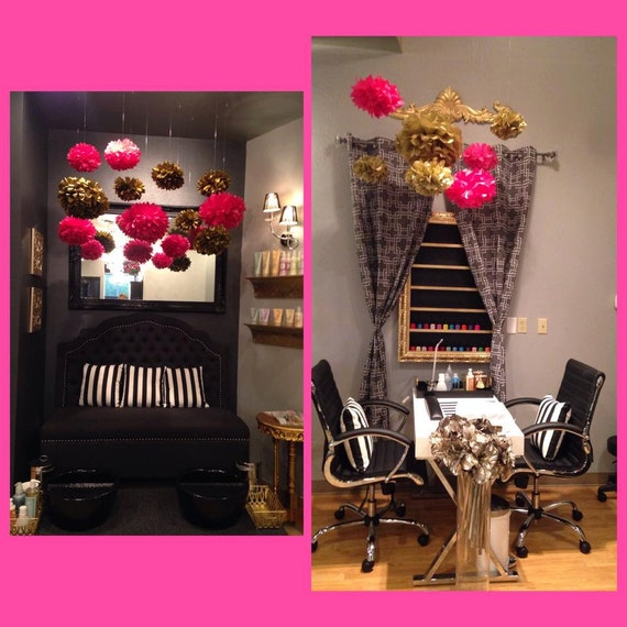BACHELORETTE Hot Pink And Gold Decoration 6 Tissue Paper Pom