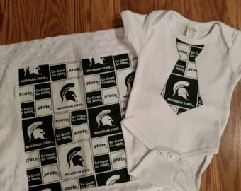 Michigan state onesie and receiving blanket