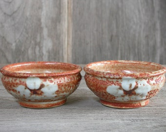 Japanese Ceramics, Small Bowls, Shino Cups, Serving Cups, Handmade Pottery, Brown Cups, Flowers Cups, Made in Japan.