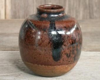 Vase, Japanese Ceramic, Small Vase, Home Decor, Handmade Pottery, Decor Vase, Rustic, Baby Shower Vase, Brown Vase, Made In Japan.