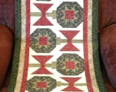 "Deck the Halls 18"" x 62"" Quilted Table/Dresser Runner, Christmas, Red, Green, Gold, Ornaments, Bows, Patchwork, Handmade, Scrappy, Holiday"