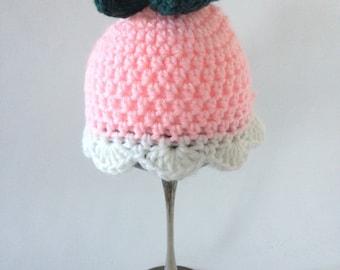 Pink Tulip Crochet Cloche size preemie-newborn