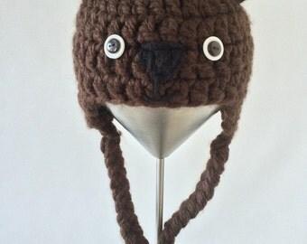 Brown Bear Crochet Earflap Hat size 3-6m